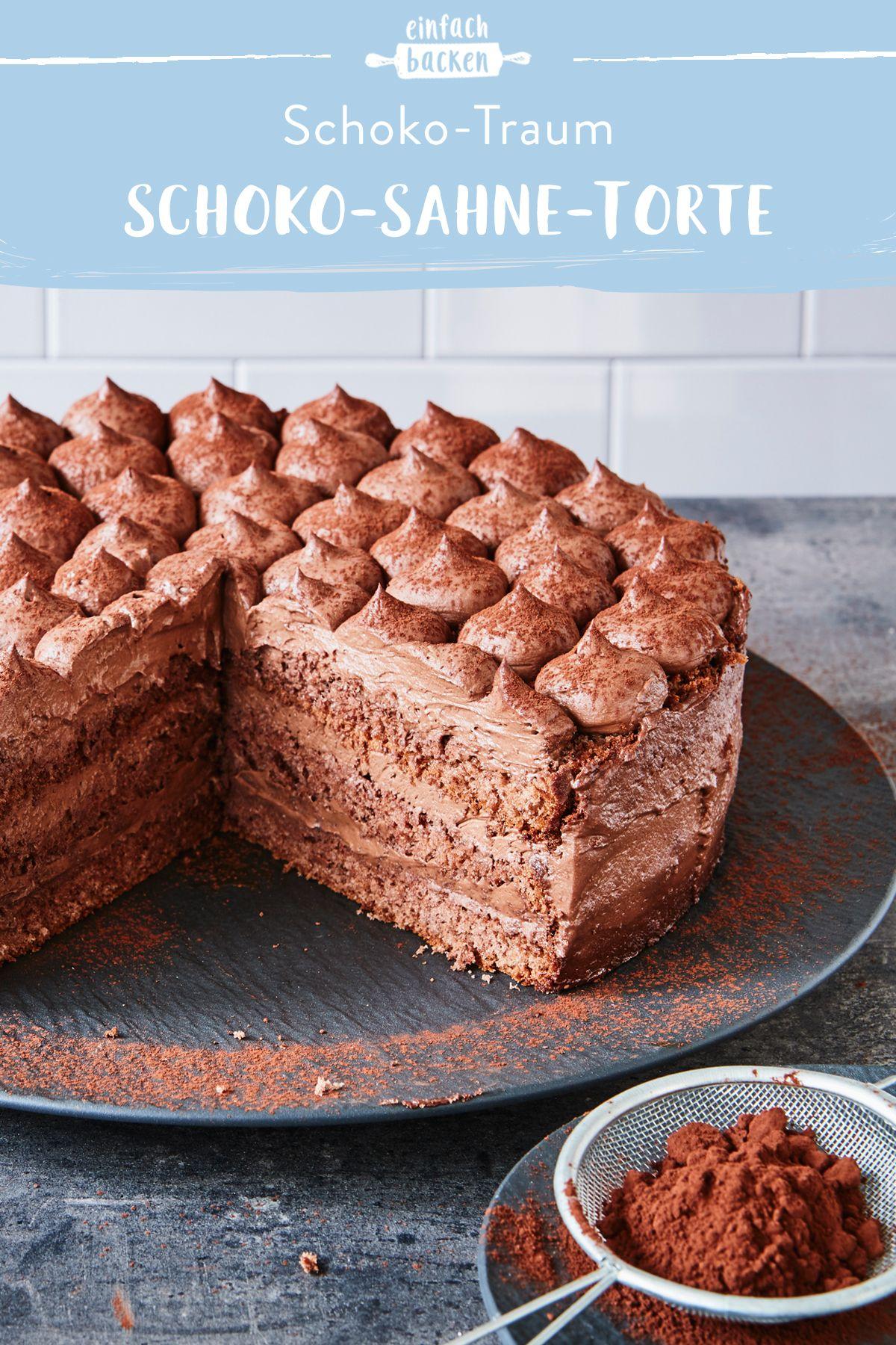 Schoko Sahne Torte Rezept In 2020 Schoko Sahne Torte Schoko Muffins Backen Und Schokoladencreme Fur Torte