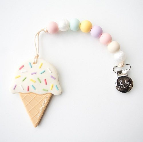 Silicone BPA Free Ice Cream Beads Baby Teether DIY Baby Necklace Toy Accessories