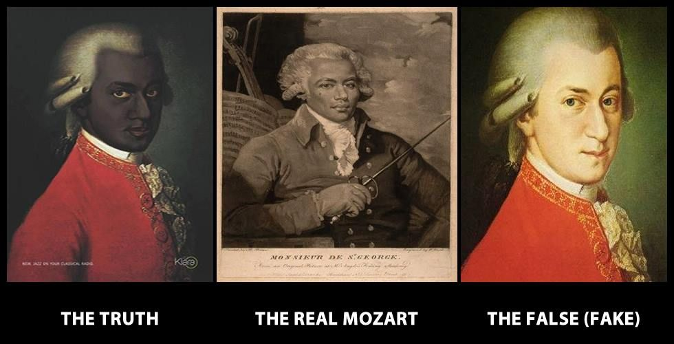 "Hmmm? Mozart was a Moor! This is what Mozart actually looks like. The image was found in a radio station in Belgium. • The Moors brought Classical Music to Europe. Not only that but when you read the REAL bios of him, he's described as having brown skin, ""negroid features"" (broad, wide nose, etc) and ""wooly hair"". There was a book written about his hair b/c Europeans were so transfixed with it! people were awed by his afro. Definitely mulatto, and possible full Moor."