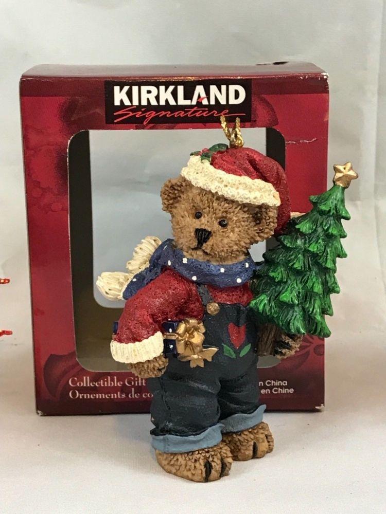 Kirkland Signature Brown Bear Holding Christmas Tree Vintage ...