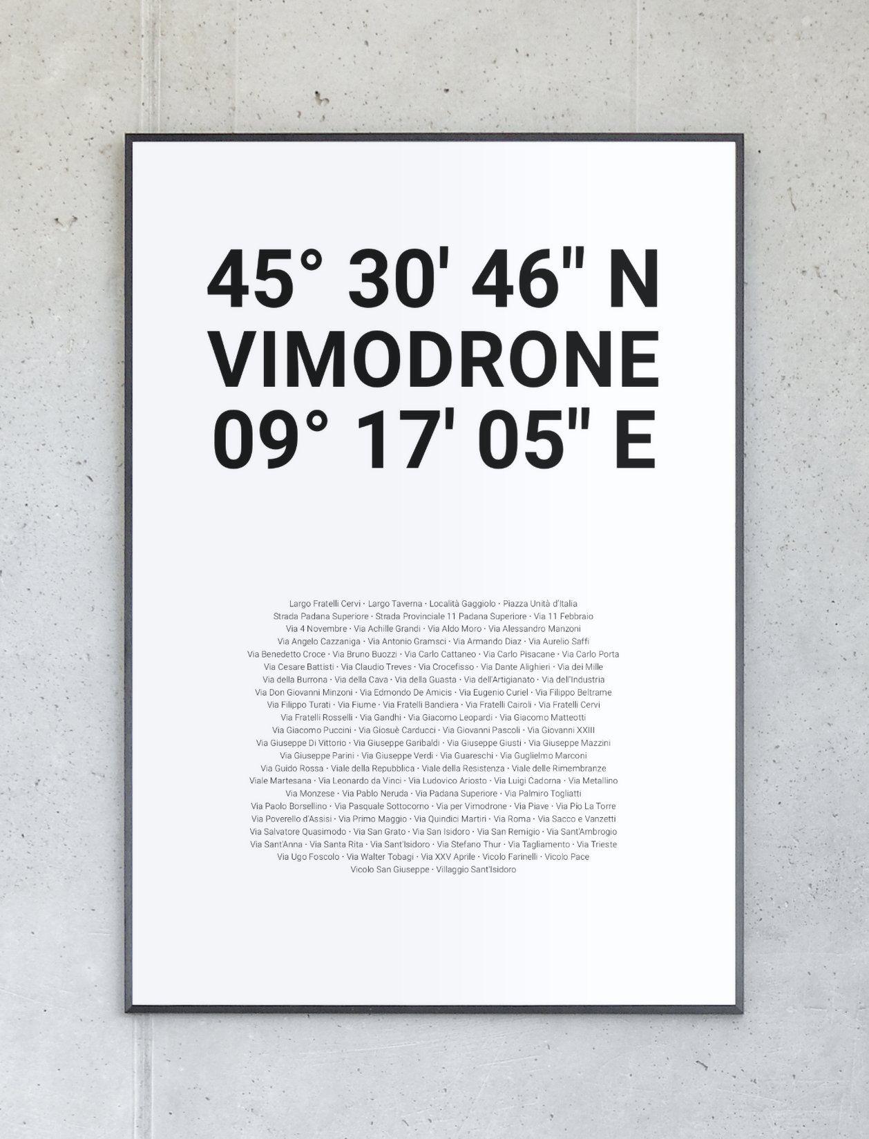 Koordinatenposter von Vimodrone – Komplett personalisierbar.