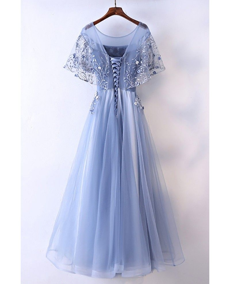 Different blue cap sleeve long party dress for formal myx