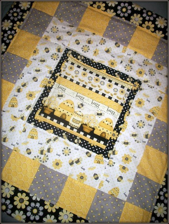 Modern Baby Yellow Black Grey And White Bumble Bee Quilt