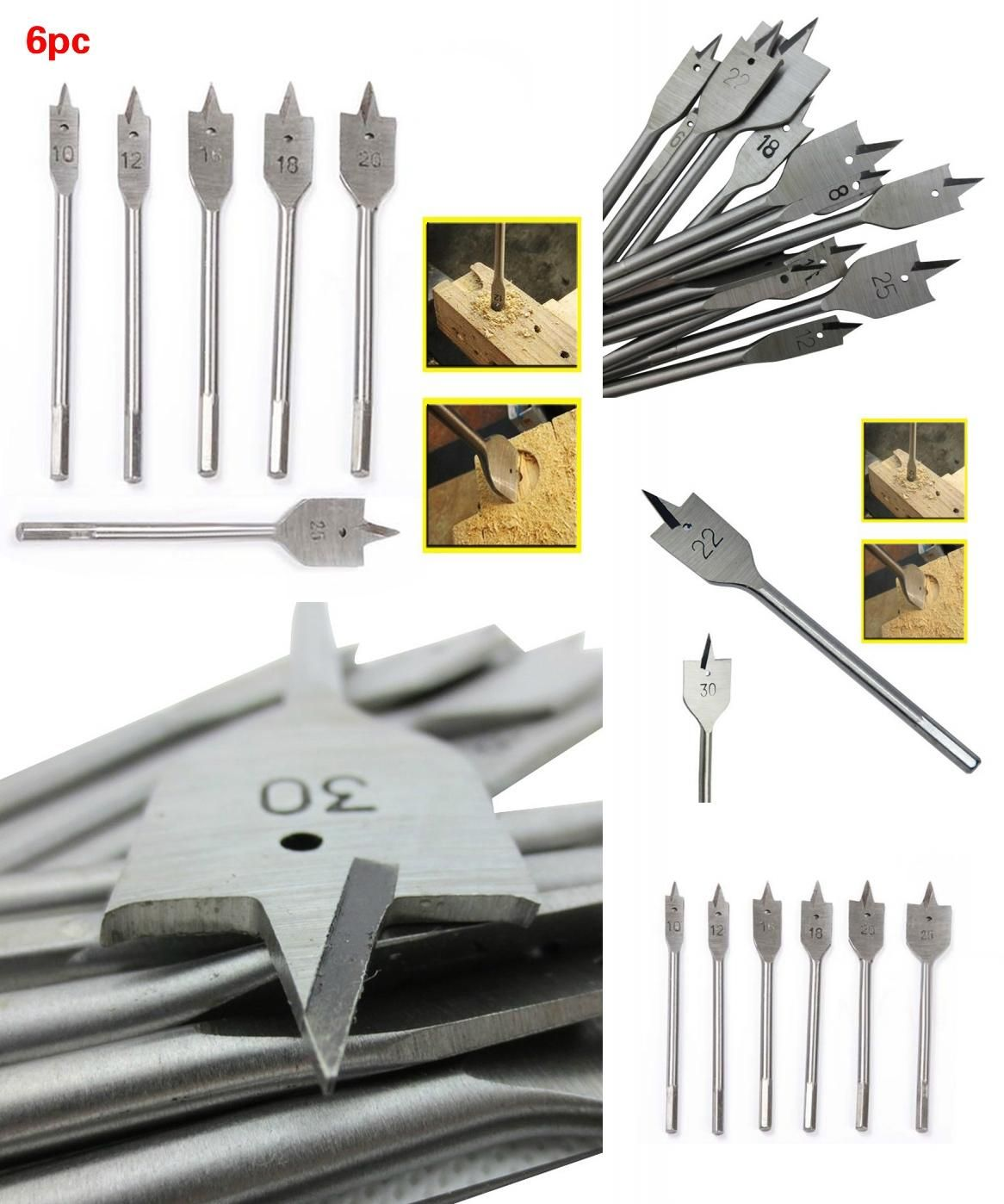 Visit To Buy Diy Wood Working Tools 6pcs Quick Change Spade Paddle Flat Wood Boring Power Drill Bit Set Assorted Sizes 10 12 With Images Wood Diy Power Drill Drill Bits