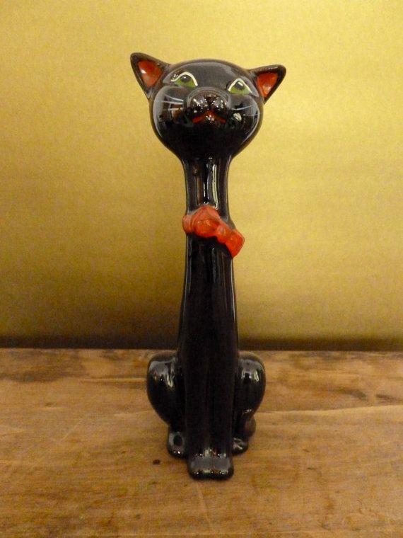 Vintage Lefton Black Cat Figurine Made In Japan Lefton Figurines