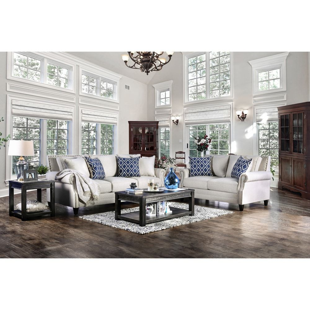 Furniture Of America Deri Contemporary Linen Fabric 2