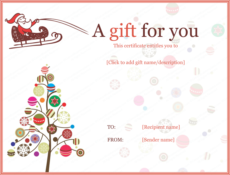 Christmas Ball Trees Gift Certificate Template Gifting Pinterest