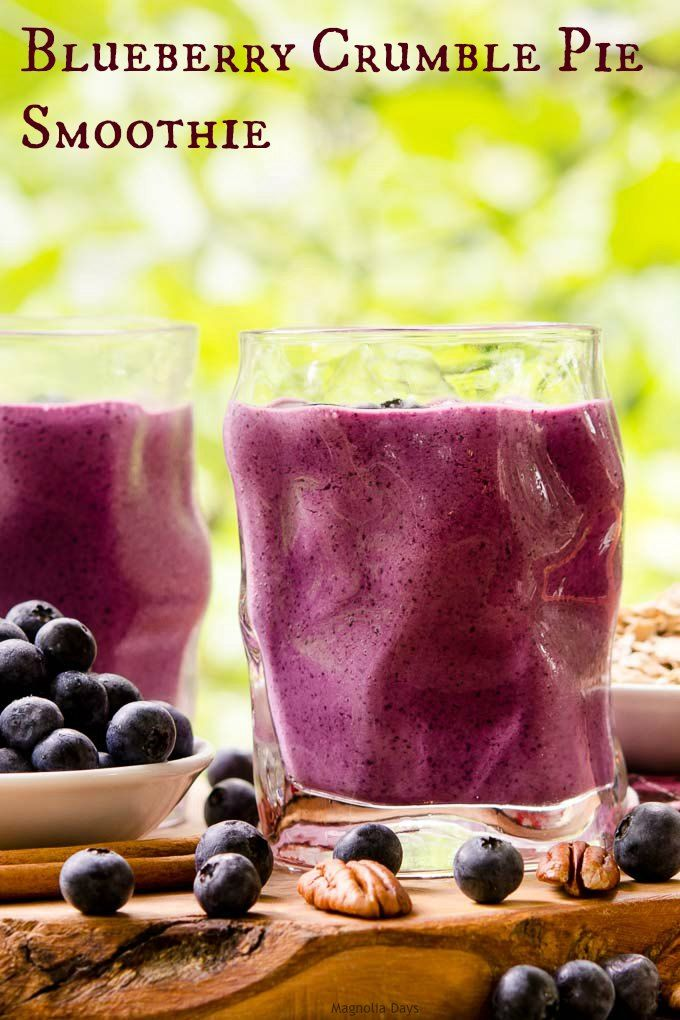 Blueberry Crumble Pie Smoothie has all the flavors of a classic pie in a glass. Blueberries, Greek yogurt, oats, and pecans make it a healthy tasty treat.