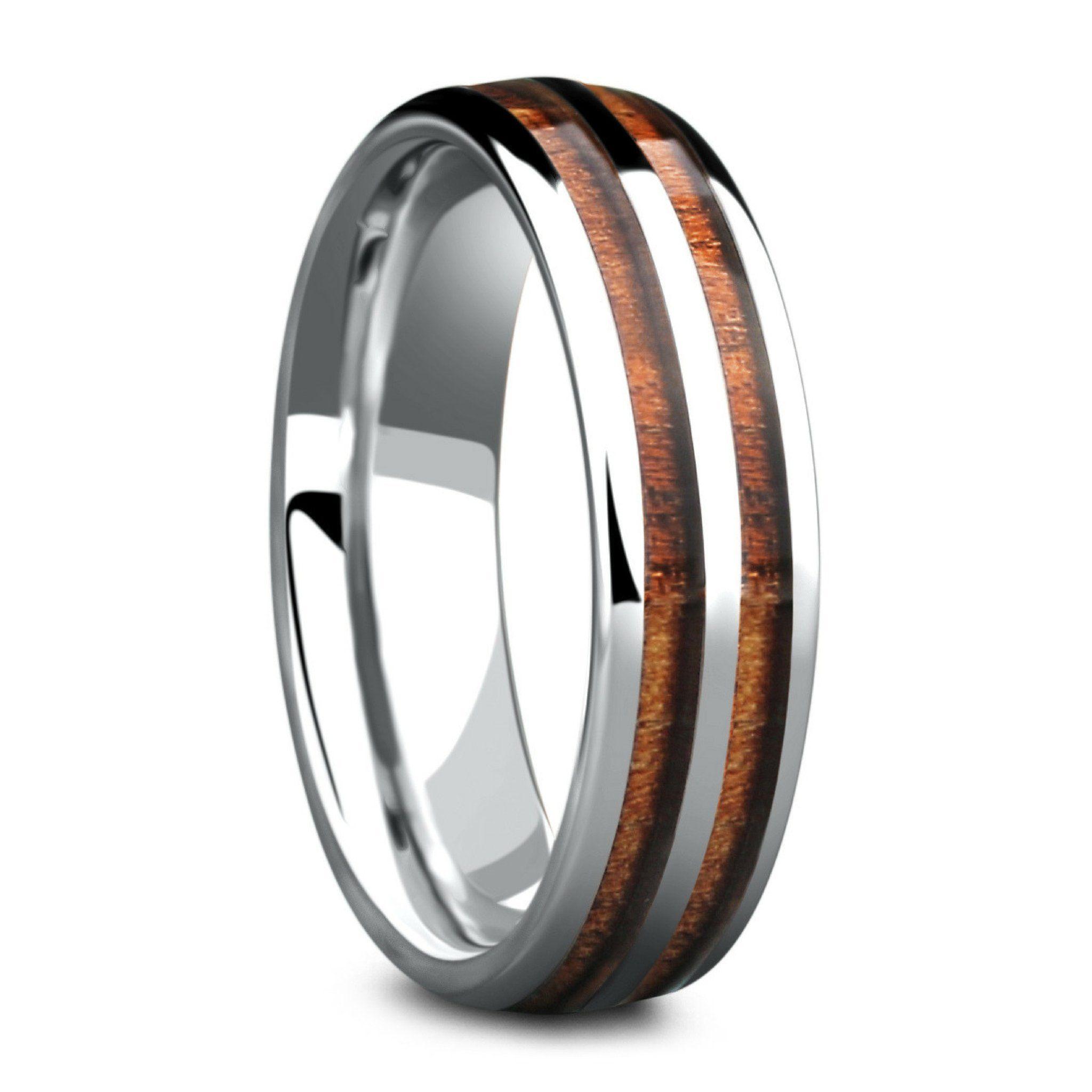 The Silver Wood Barrel Ring (6mm Width) Barrel rings
