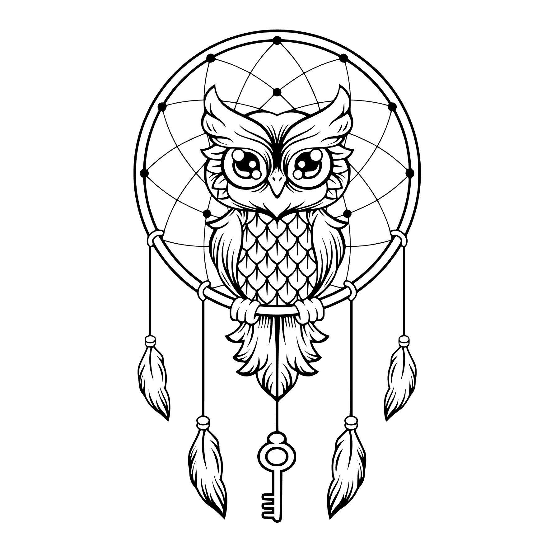 Owl Dreamcatcher Svg Studio Silhouette File Etsy Owl Coloring