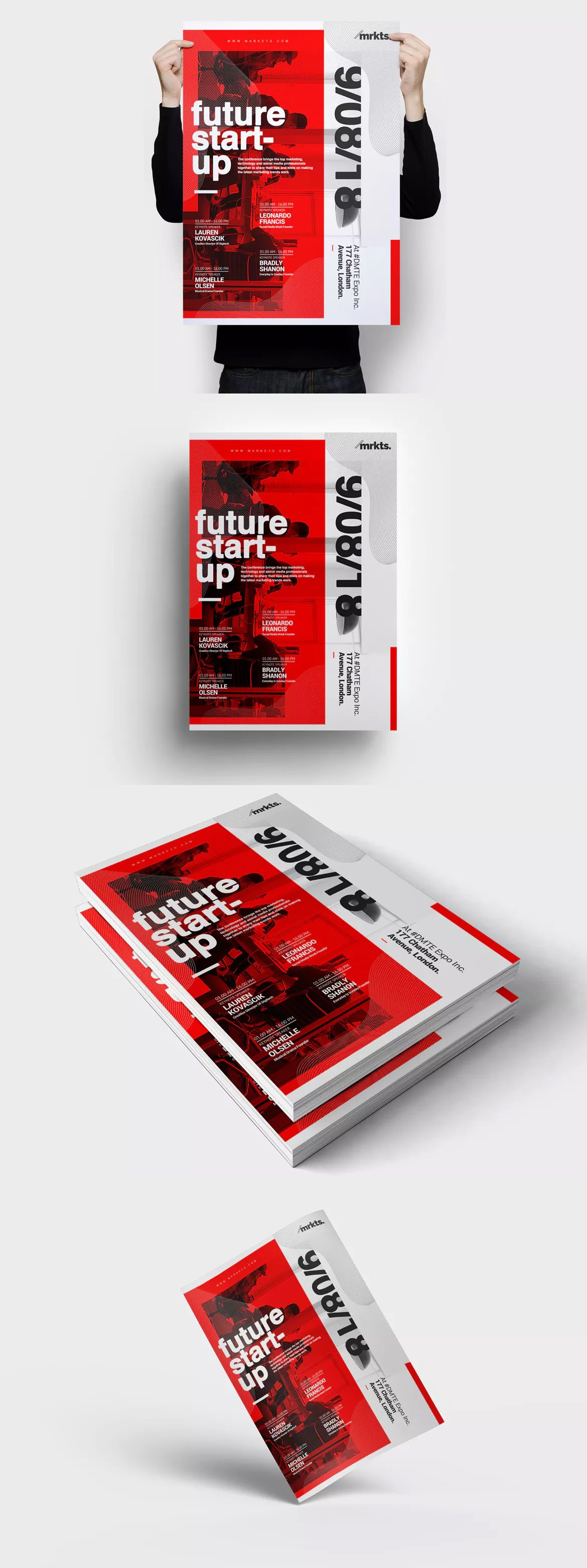 future startup conference flyer template psd a3