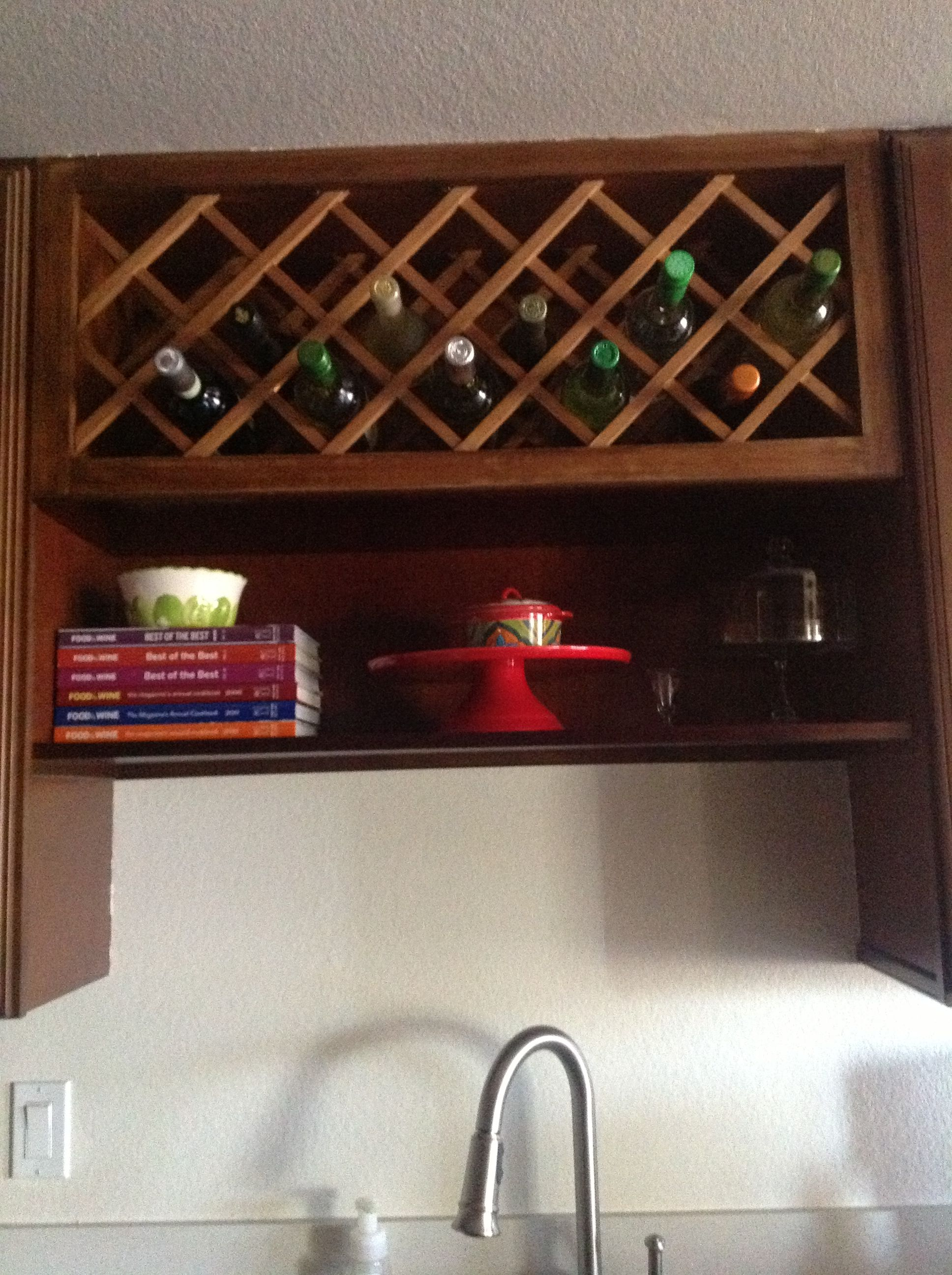 Above The Sink Shelf And Wine Rack Sink Shelf Kitchen Cabinet