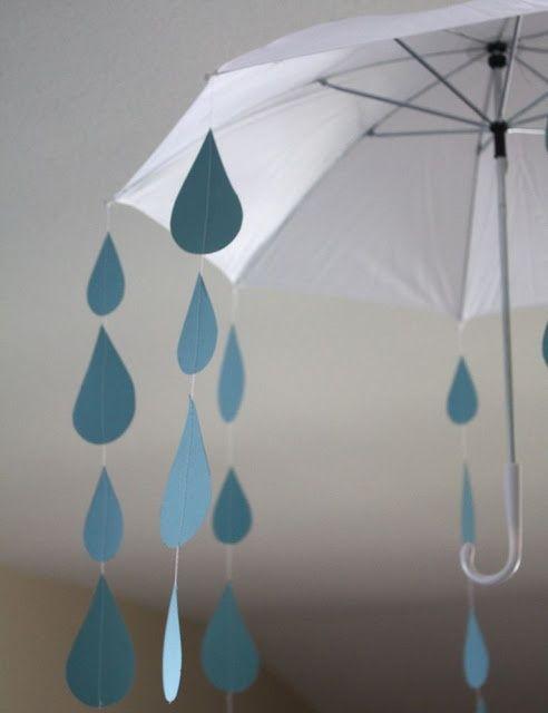 Gotas De Lluvia De Papel Y Un Paraguas Para Decorar Una Fiesta Lluvia Paper Rain Drops And An Umbrella To Decorate A Ra Ideias Ideias Para Festas Boas Ideias