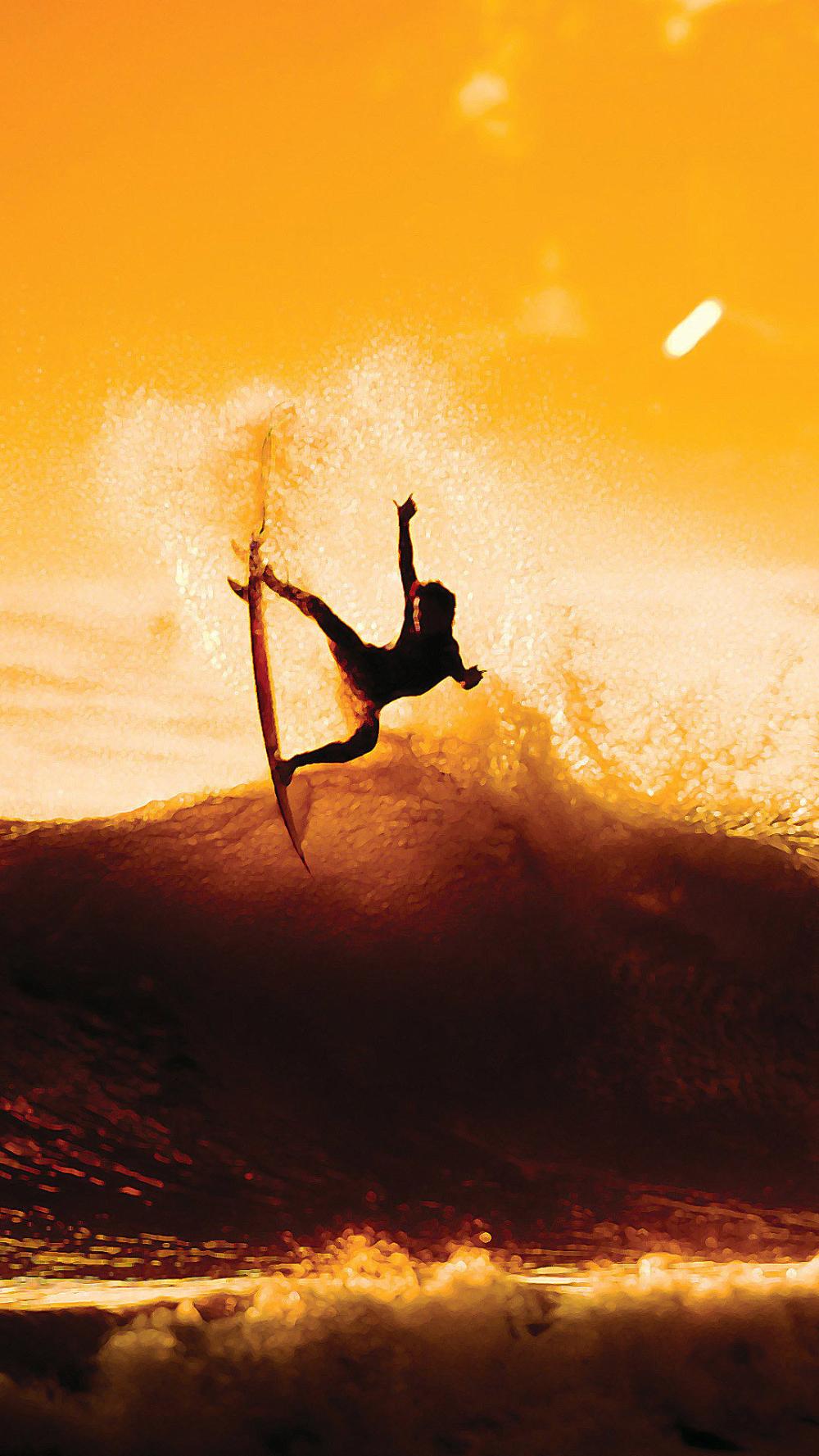 Surfing Sunset Sea Yellow Orange Wallpaper Background Wallpaper Background Iphone Phone Mobile In 2020 Surfing Photography Surfing Sunset Sea