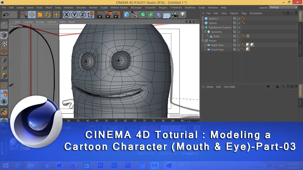 CINEMA 4D Toturial_Modeling a Cartoon Character ( Mouth