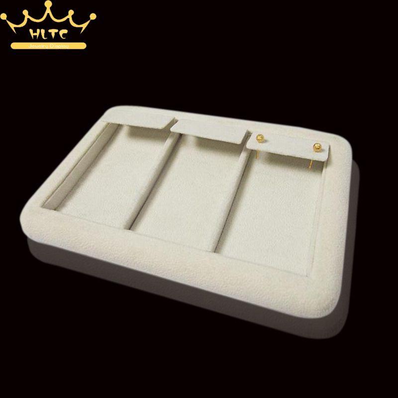 Organizer Popular Beige Velvet 18x22cm Jewelry Display Tray Kit