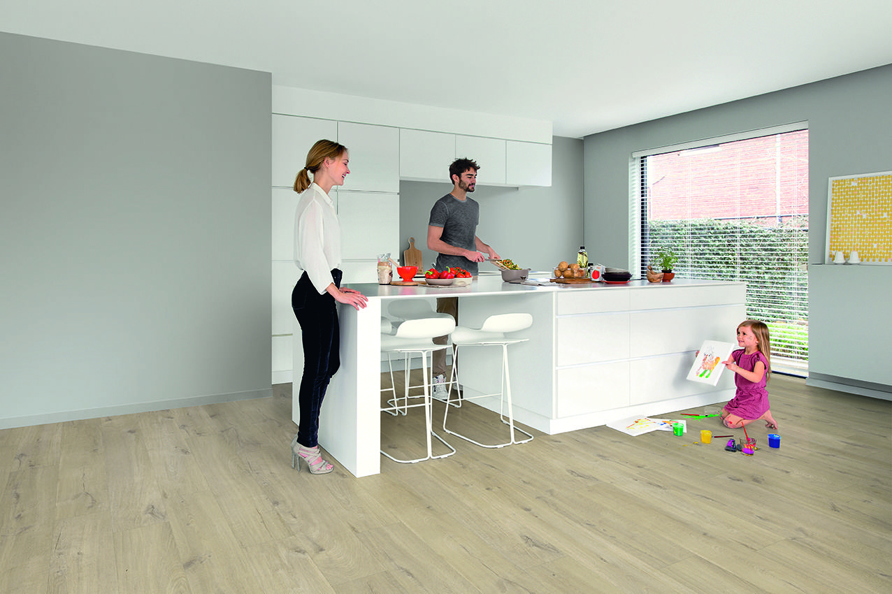 quick-step laminate flooring - pulse 'cotton oak beige' (pucl40103