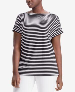 5925a77e2d8 Lauren Ralph Lauren Plus Size Striped T-Shirt - Black/White 3X ...