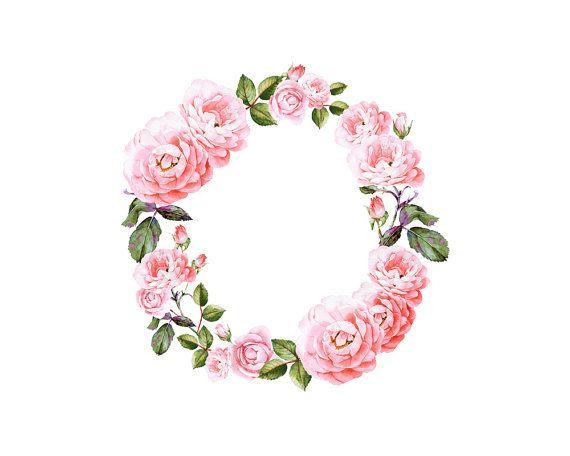 pink rose watercolor clip art wreath, Flower crown ...