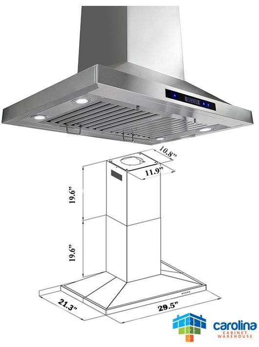 30 Island Range Hood Minimum Required Ceiling Height 8 Feet Chimney Extension No Duct Size Rounded 6 Inc Range Hoods Best Range Hoods Cheap Range Hood
