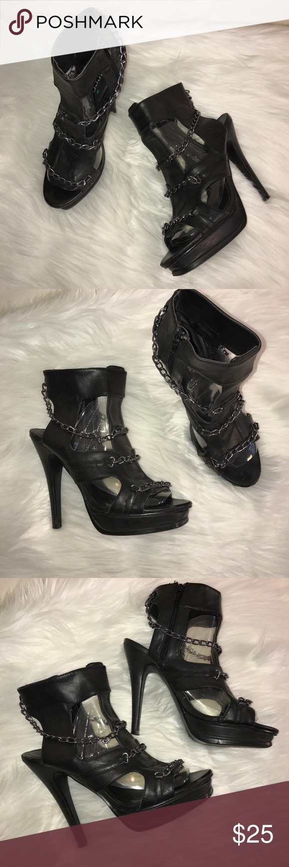 Bucco Capfnsis Sliver Chain Heel All man made materials. Made in China. In Good Condition, only worn a few times Bucco Shoes Heels
