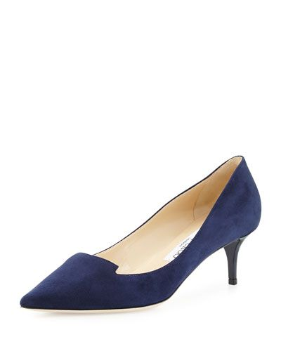 X2SE4 Jimmy Choo Allure Suede Kitten-Heel Pump, Navy