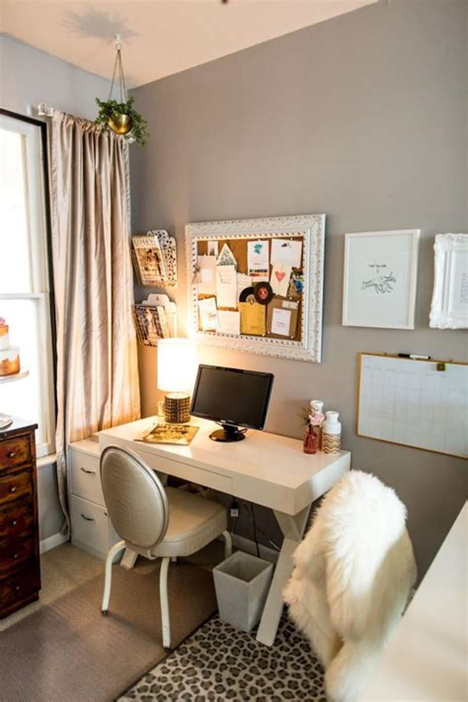 50 Best Small Space Office Decorating Ideas On A Budget 2019 24 Small Space Office Living Room Office Small Bedroom Office