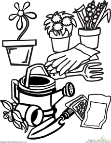free coloring pages garden tools - photo#11