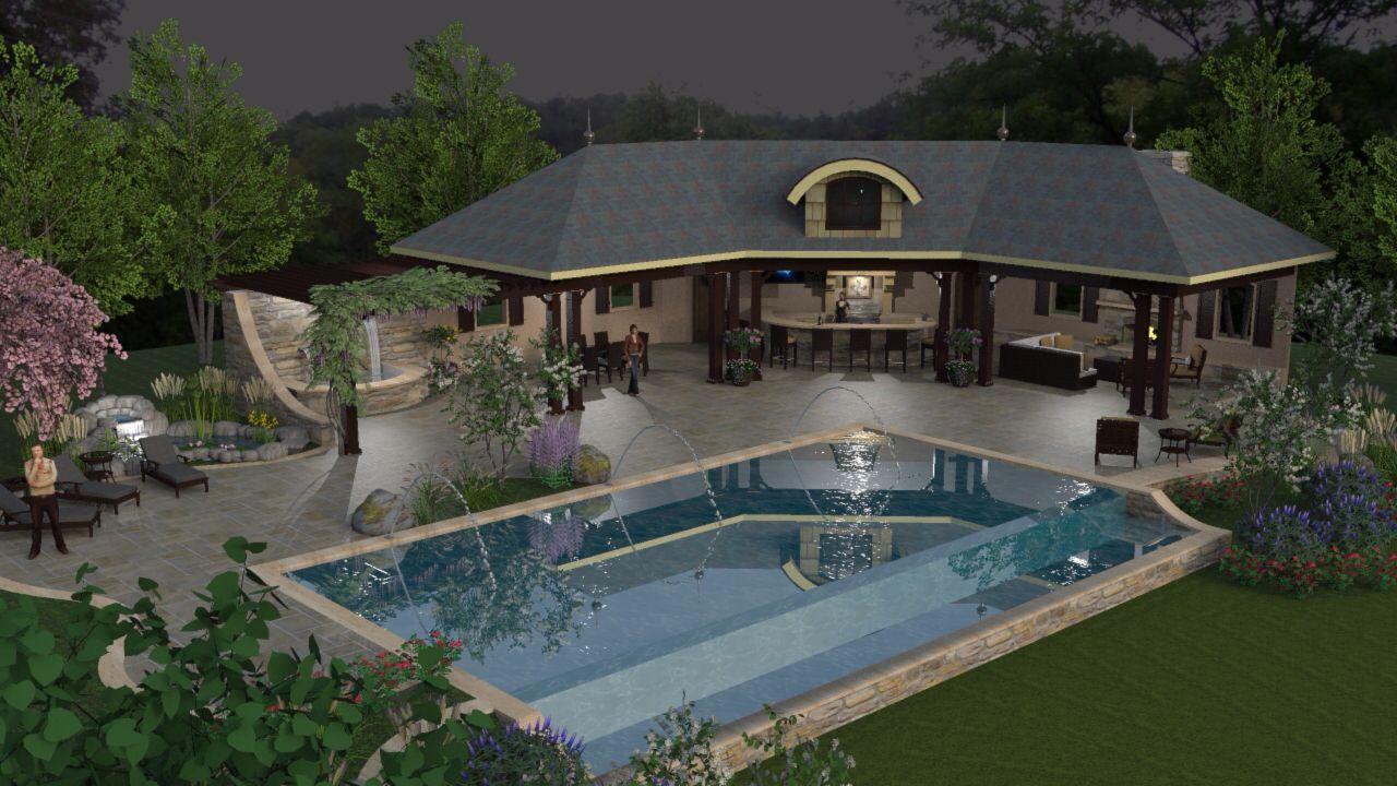 Pool pavilion spa fireplace shaderlight sketchup for Pool design sketchup