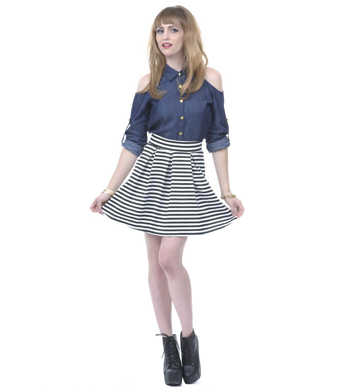 Black u white striped ponti skater skirt unique vintage prom