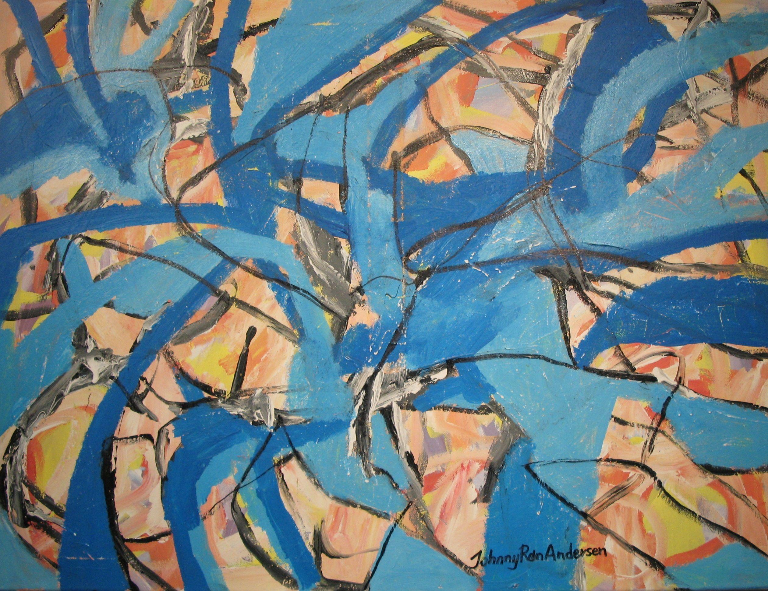 Maleri Blå energi 60x80 cm Johnny Røn Andersen
