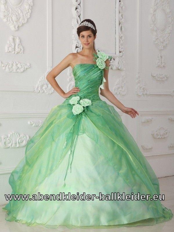 Mint Grünes Sissi Kleid Abend - Ballkleid Mit Tüll und Blumen ...