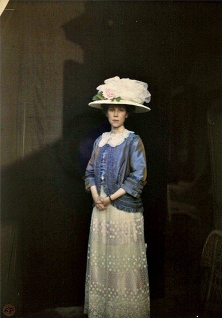 Amateur Autochromes by John B. Trevor  Caroline Trevor, (the photographer's wife), ca. 1910