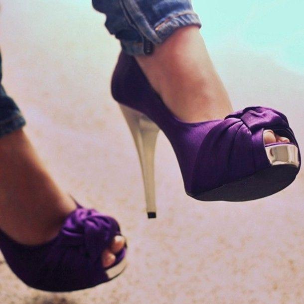Shoes: heels, purple, gold, peep toe, purple shoes, high heels ...
