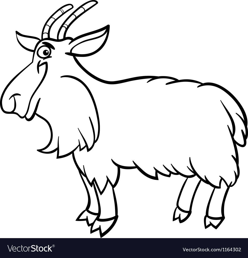 Farm Goat Cartoon For Coloring Book Vector Image On Vectorstock In 2020 Goat Cartoon Black And White Cartoon Coloring Books