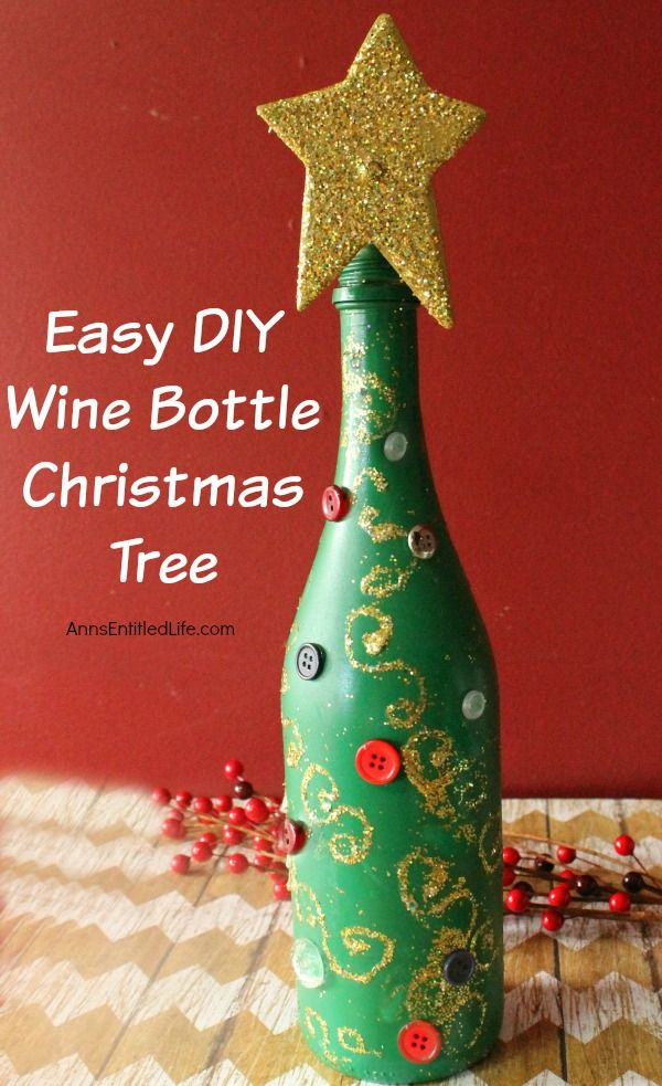 Easy diy wine bottle christmas tree wine bottle for Christmas bottle decorations