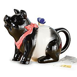 Black and white pig teapot