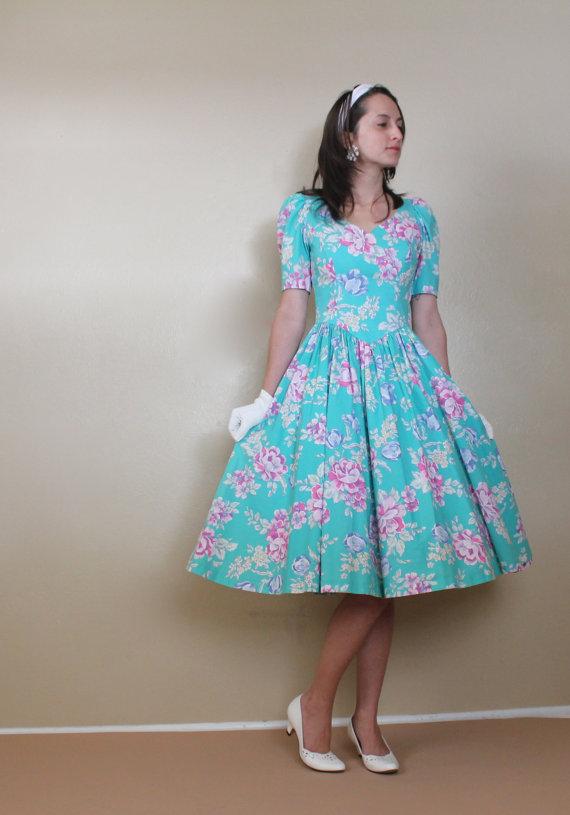 Reserved Aqua Floral Sweetheart Dress Laura Ashley Full Etsy Laura Ashley Vintage Dress Laura Ashley Fashion Vintage Dresses