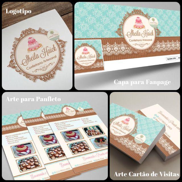 Criação de Logotipo para Confeitaria / Capa Facebook Confeitaria / Arte Cartão de Visitas Confeitaria / Arte Tag para Confeitaria / Panfleto para Confeitaria