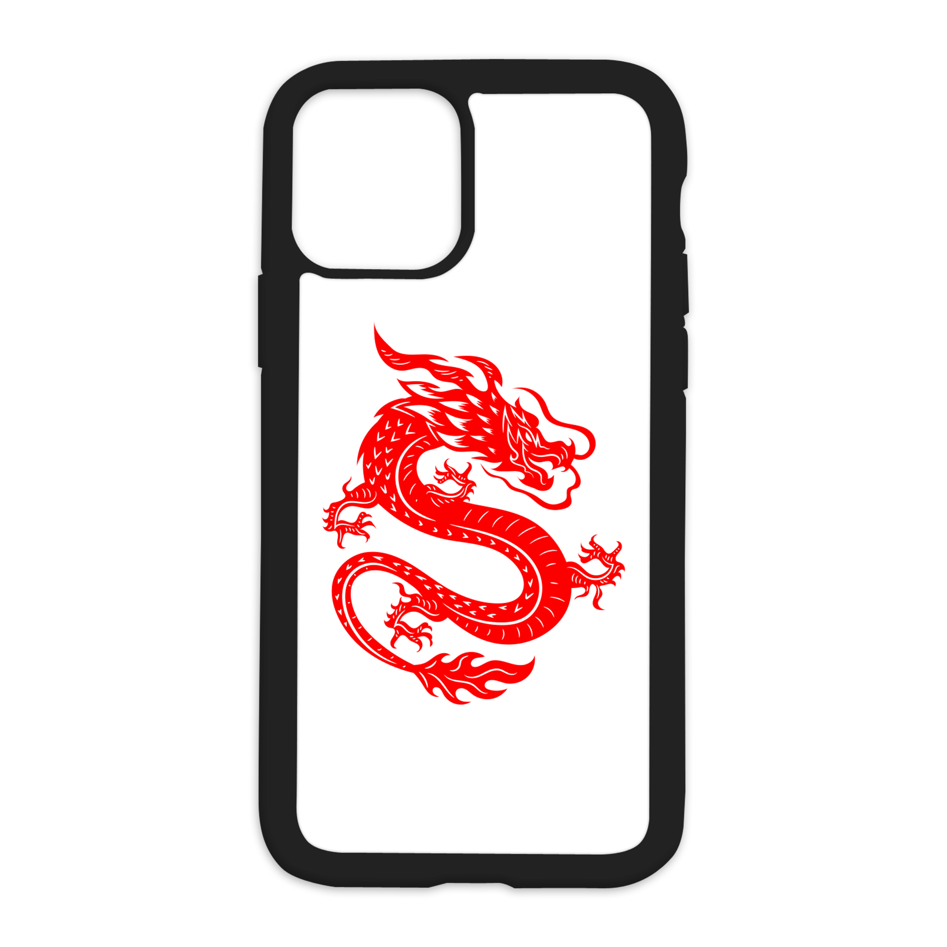 Red Dragon Design On Black Phone Case - 12 Pro Max