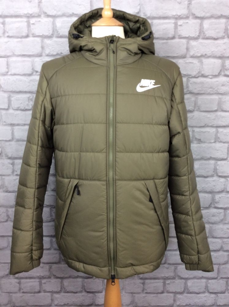 Nike Mens Uk S Syn Fill Puffer Jacket Green Khaki Coat Winter Puffa