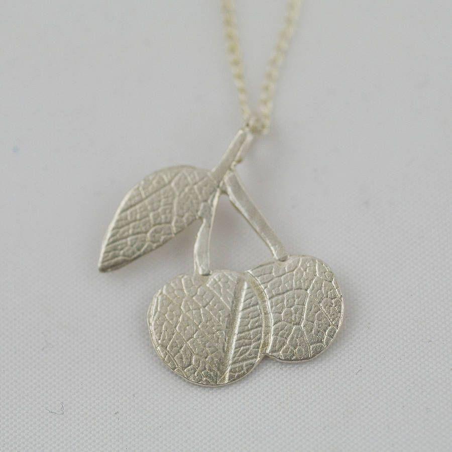 silver cherry charm pendant by kt new | notonthehighstreet.com