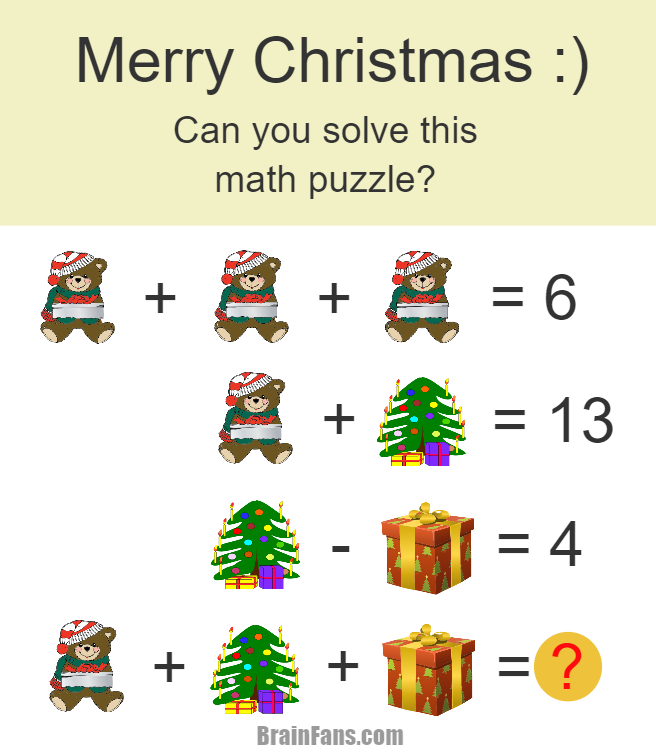 Brain teaser , Number And Math Puzzle , christmas math