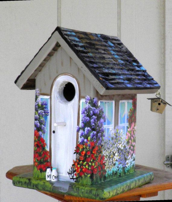 Decorative Bird House Theme And Kids Rooms Ideas: EcoFriendly Birdhouse Hand Made Hand Painted By