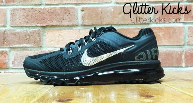 Nike Air Max 360 Running Shoes By Glitter Kicks - Customized With Swarovski  Crystal Rhinestones - Black Black 4c40bf7384f2