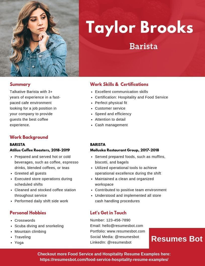 Barista Resume Samples & Templates [PDF+DOC] 2019