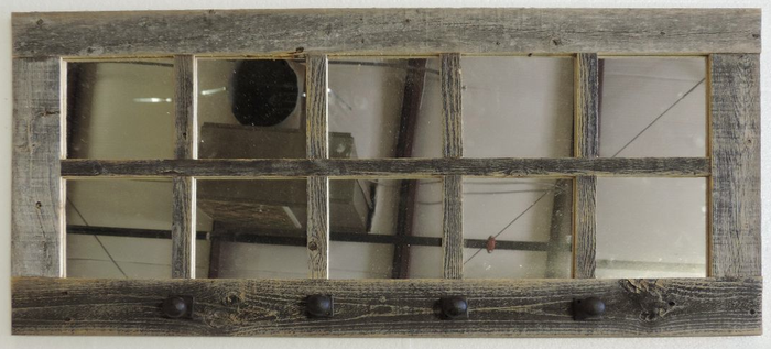 46 X 36 Homesteader Style 12 Pane Farmhouse Window Mirror With Shutters Rustic Window Window Mirror