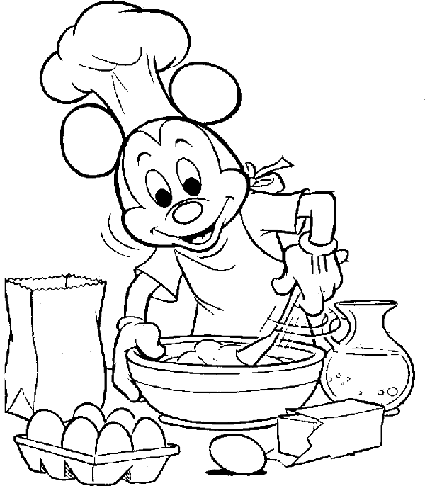 Mickey Mouse Cooking To Celebrate Thanksgiving Day Coloring For Kids ...