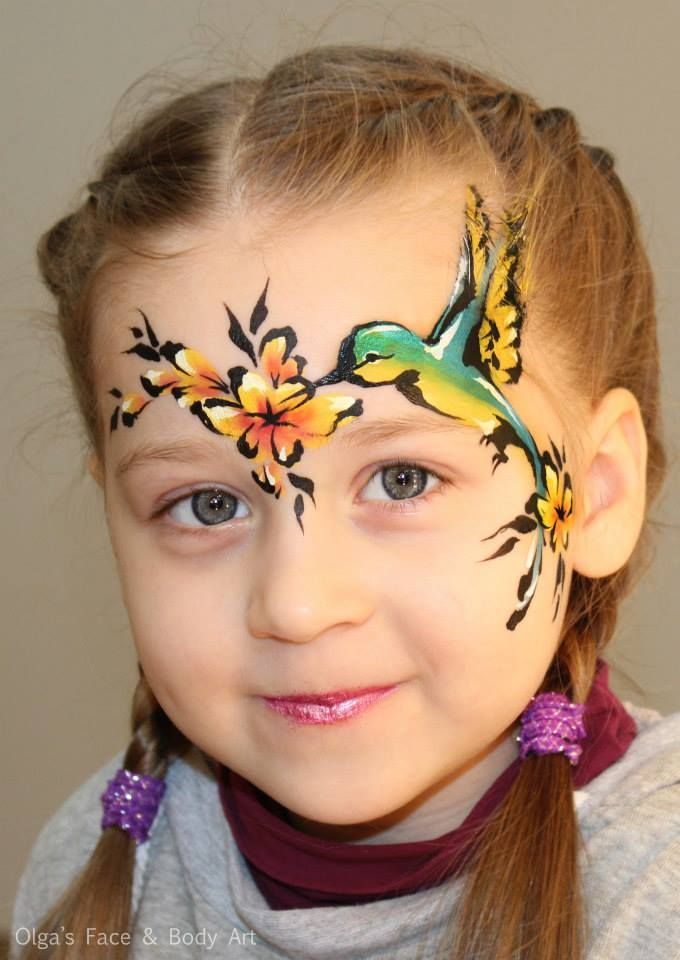 A Little Humming Bird I Painted Today Isnt This Model Just Gorgeous Face Painting Designs Face Painting Animal Face Paintings