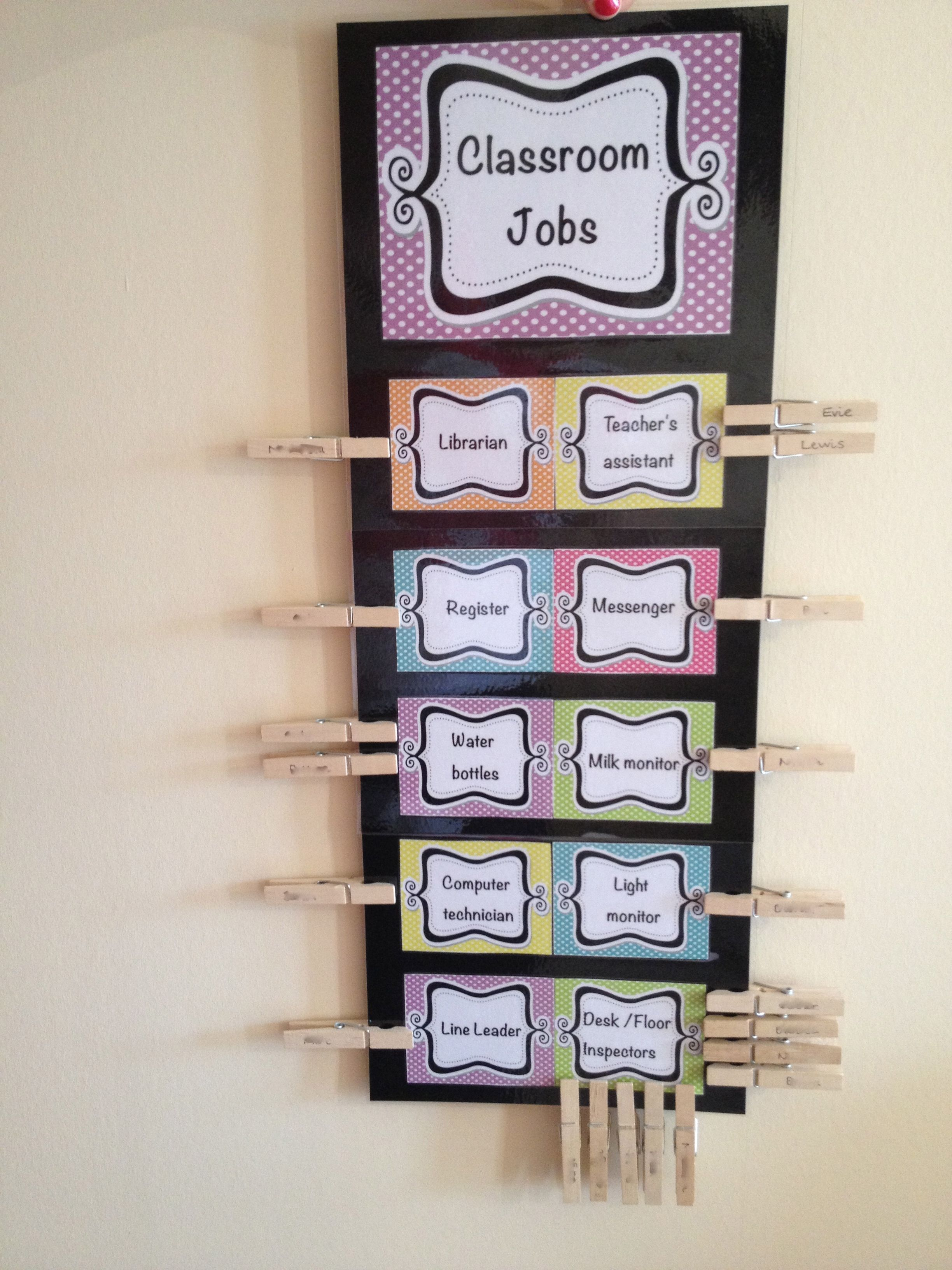 Classroom Theme Ideas List ~ Class jobs chart with names on clothes pegs to move each